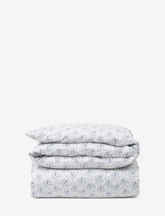 LtGray/Blue Flower Print Cotton Sateen Duvet Cover - dekbedovertrekken - lt. gray/blue
