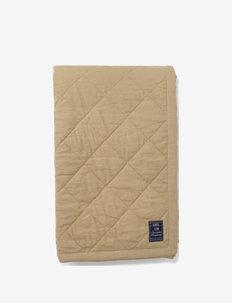 Quilted Linen/Viscose Bedspread - plaids - beige