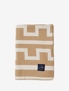 Graphic Recycled Cotton Blanket - blankets - off white/beige