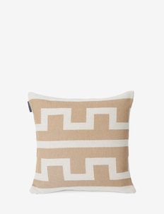 Graphic Recycled Cotton Pillow Cover - poszewki na poduszki ozdobne - off white/beige