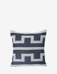 Graphic Recycled Cotton Pillow Cover - poszewki na poduszki ozdobne - off white/dk blue