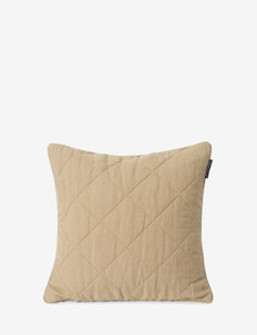 Quilted Linen/Viscose Pillow Cover - tyynyliinat - beige