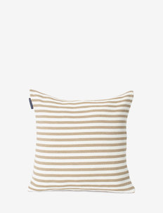Block Striped Recycled Cotton Pillow Cover - poszewki na poduszki ozdobne - beige