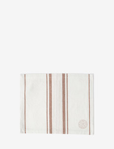 Striped Cotton Canvas Placemat - pöytätabletit & lasinaluset - off white/brown