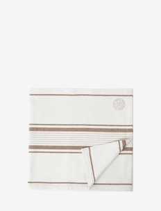 Striped Cotton Canvas Runner - nappes et chemins de table - off white/brown