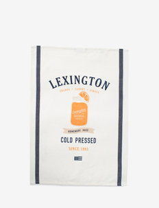 Printed Cotton Twill Kitchen Towel - torchons - off white/blue/orange