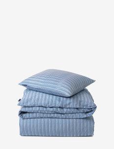 Blue Striped Organic Cotton Sateen Bed Set - parures de lit - blue/white
