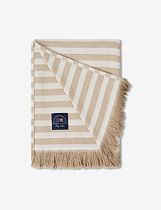 Striped Recycled Cotton Throw - tepper - beige/white