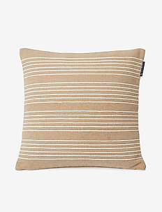 Structure Stripes Recycl Cott Canvas Pillow Cover - taie d'oreiller - beige/white