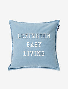 Denim Easy Living Cotton Pillow Cover - taie d'oreiller - denim blue/white
