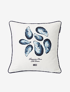 Mussels Cotton Twill Pillow Cover - housses de coussins - white/blue