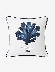 Ocean Treasures Cotton Twill Pillow Cover - taie d'oreiller - white/blue