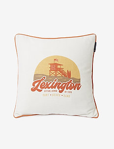 Surf Beach Logo Cotton Canvas Pillow Cover - taie d'oreiller - white/peach melon