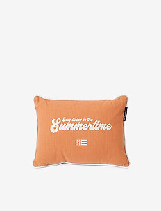 Summertime Small Cotton Canvas Pillow - pudebetræk - peach melon/white