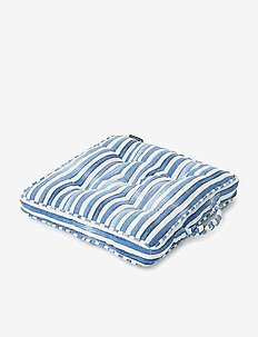 Blue Striped Cotton Canvas Outdoor/Indoor Cushion - pynteputer - blue/white