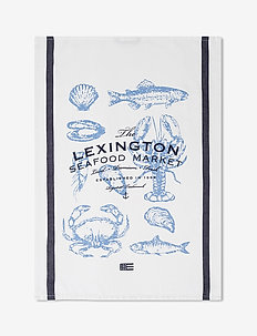 Seafood Cotton Twill Kitchen Towel - torchons - white/blue