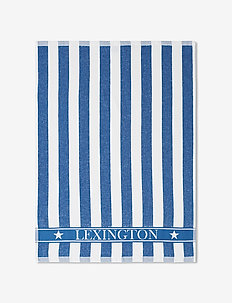Striped Logo Organic Cotton Terry Kitchen Towel - torchons - blue/white