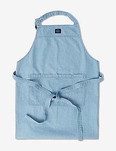 Light Blue Denim Washed Cotton Apron - lt blue denim