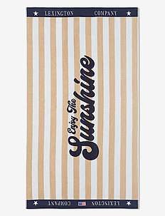 Graphic Cotton Velour Beach Towel - hand towels & bath towels - beige/white