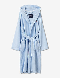 Striped Organic Cotton-Mix Hoodie Robe - sous-vêtements - blue/white