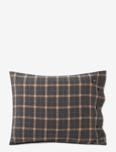 Checked Cotton Flannel Pillowcase - pillow cases - dk gray/beige