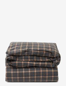 Checked Cotton Flannel Duvet Cover - duvet covers - dk gray/beige