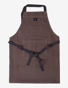 Striped Cotton Herringbone Apron - forklæder - beige/dk gray