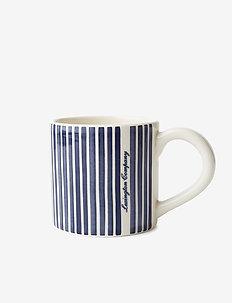 Blue Striped Earthenware Mug - blue/white