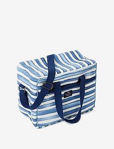 Blue Striped Cotton Canvas Cooler Bag - vin & champagnekølere - blue/white
