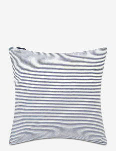 Blue/White Washed Striped Cotton Pillowcase - putetrekk - blue/white