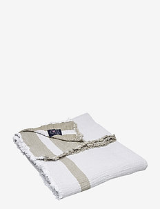 Double Faced Cotton Bedspread - bedspread - olive/white