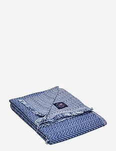 Herringbone Cotton Throw - blankets - blue