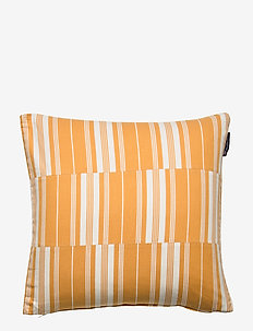 Cut and Sewn Cotton Pillow Cover - cushion covers - yellow/white
