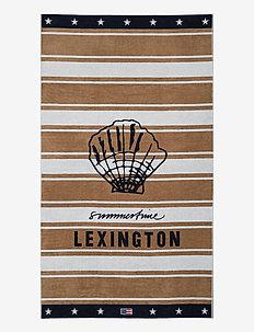 Graphic Cotton Velour Beach Towel - serviettes de plage - beige/white