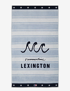 Graphic Cotton Velour Beach Towel - strandhanddoeken - lt blue/white