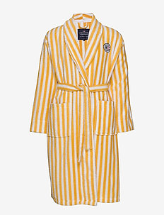Striped Cotton-Mix Terry Robe - undertøy - yellow/white