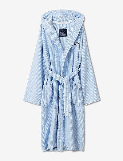 Striped Organic Cotton-Mix Hoodie Robe - bielizna - blue/white