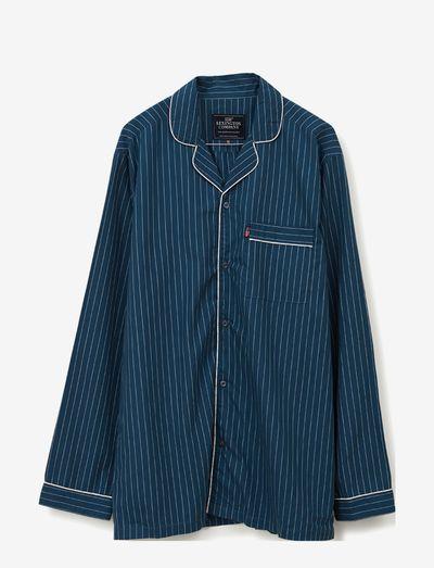 Ethan Cotton/Lyocell Pajama Set - sov- & loungeplagg - blue/white