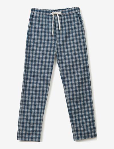 Leon Organic Cotton Flannel Pants - sov- & loungeplagg - blue/white