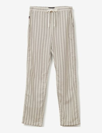 Leon Organic Cotton Oxford Pants - sov- & loungeplagg - gray/white