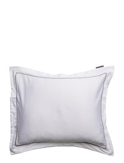 White/Gray Sateen Star Framed Pillowcase - WHITE/GRAY