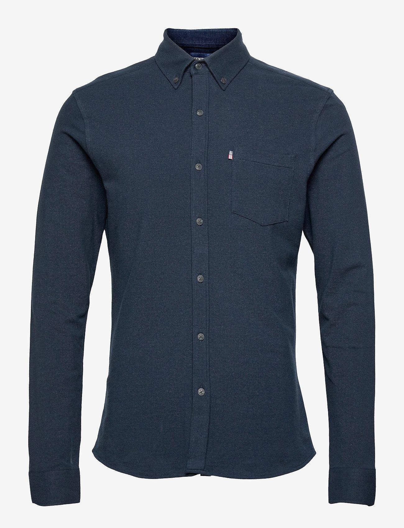 Lexington Clothing - Brett Organic Cotton Pique Shirt - geruite overhemden - dark blue - 1