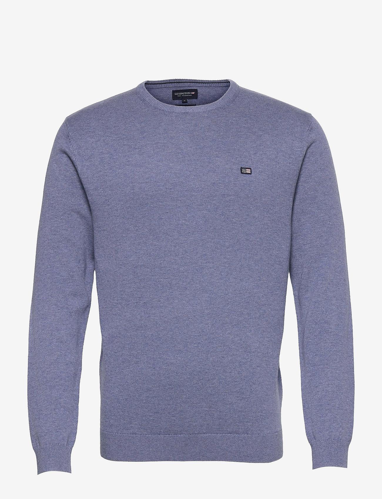 Lexington Clothing - Bradley Organic Cotton Crew Neck Sweater - basic gebreide truien - blue melange - 1