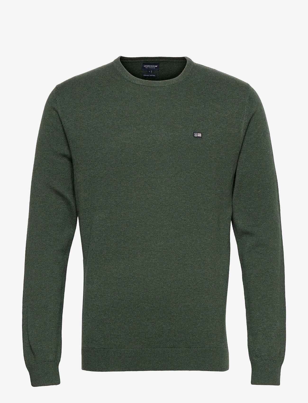 Lexington Clothing - Bradley Organic Cotton Crew Neck Sweater - basic gebreide truien - green melange - 1