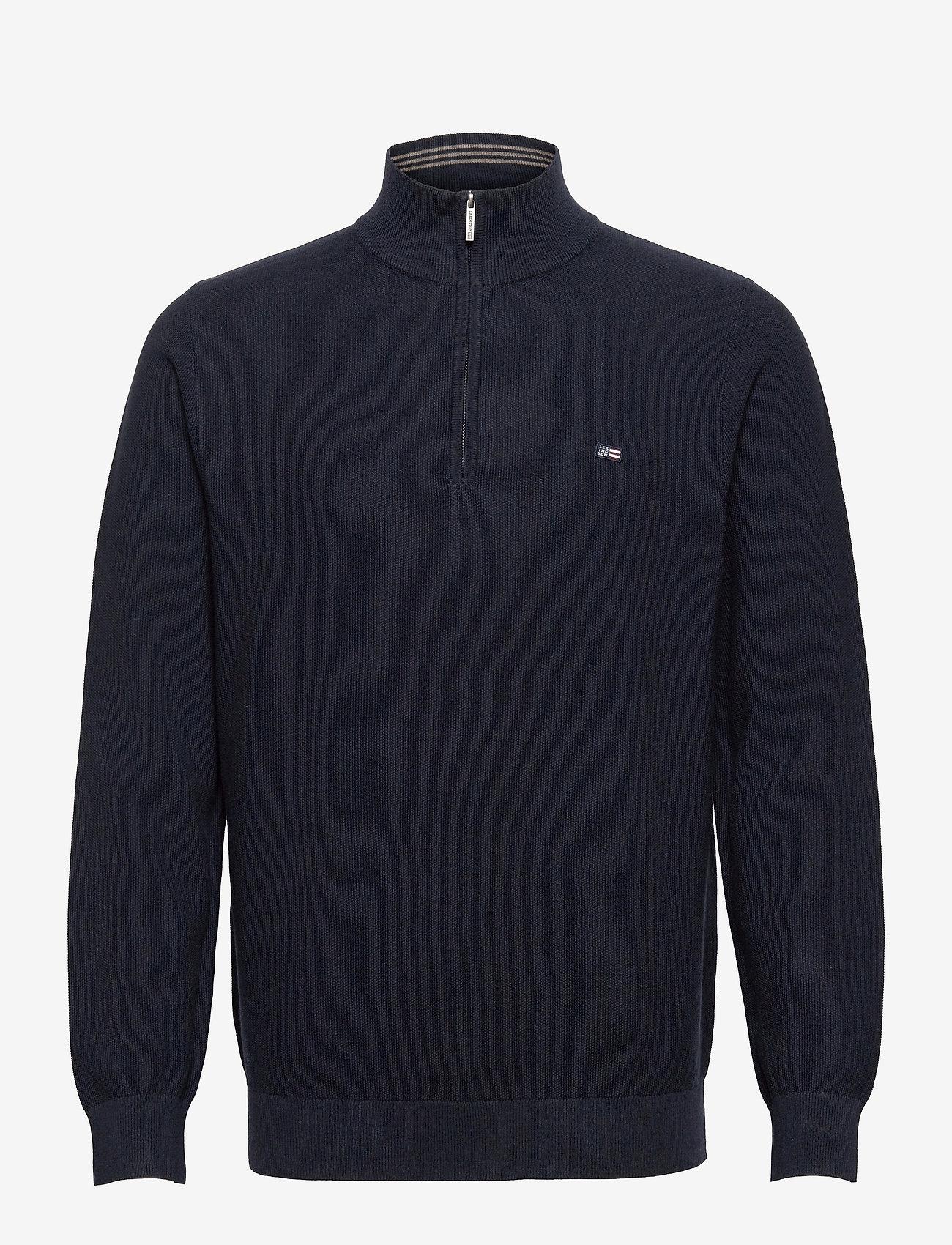 Lexington Clothing - Clay Organic Cotton Half Zip Sweater - truien met halve rits - dark blue - 1
