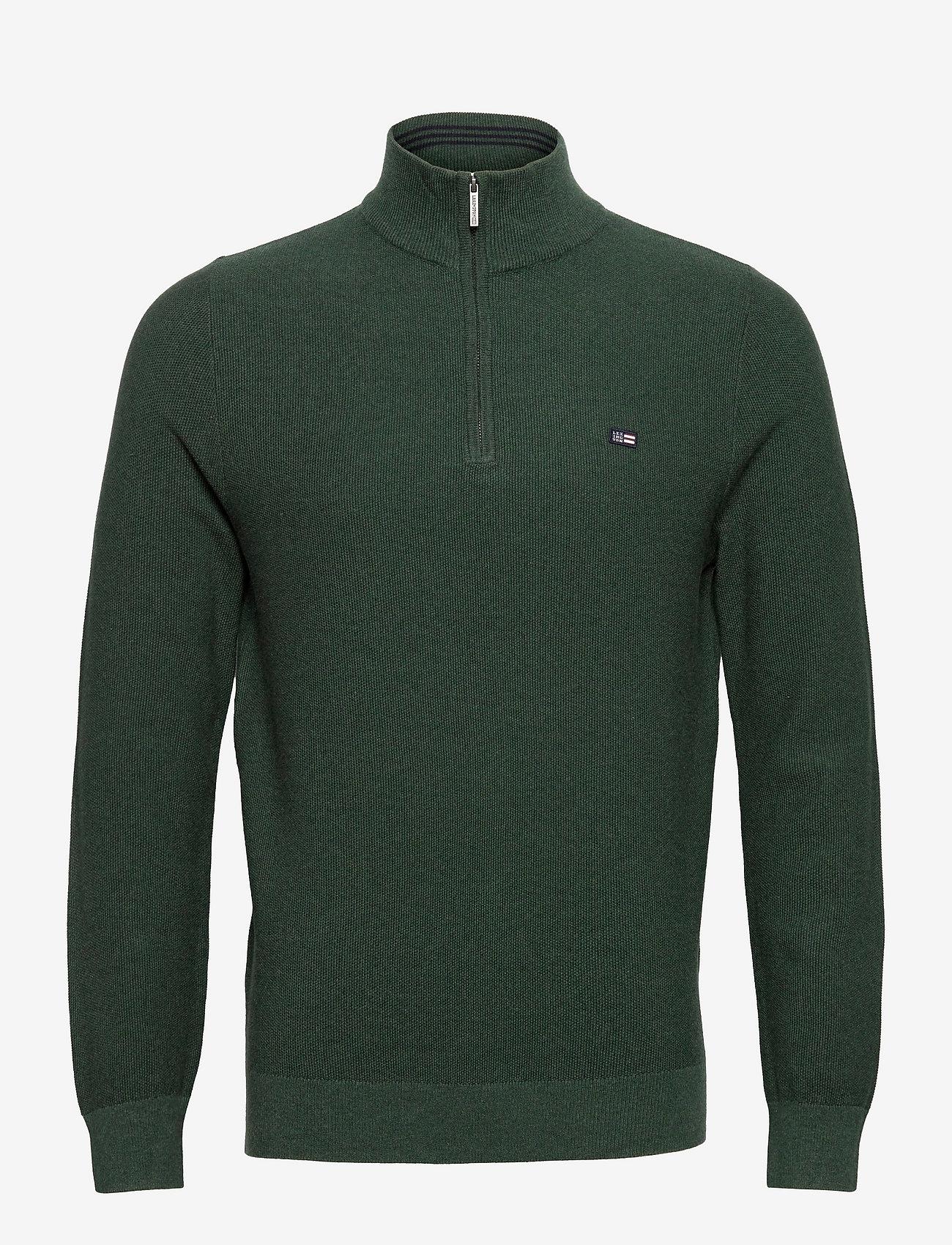 Lexington Clothing - Clay Organic Cotton Half Zip Sweater - truien met halve rits - green melange - 1