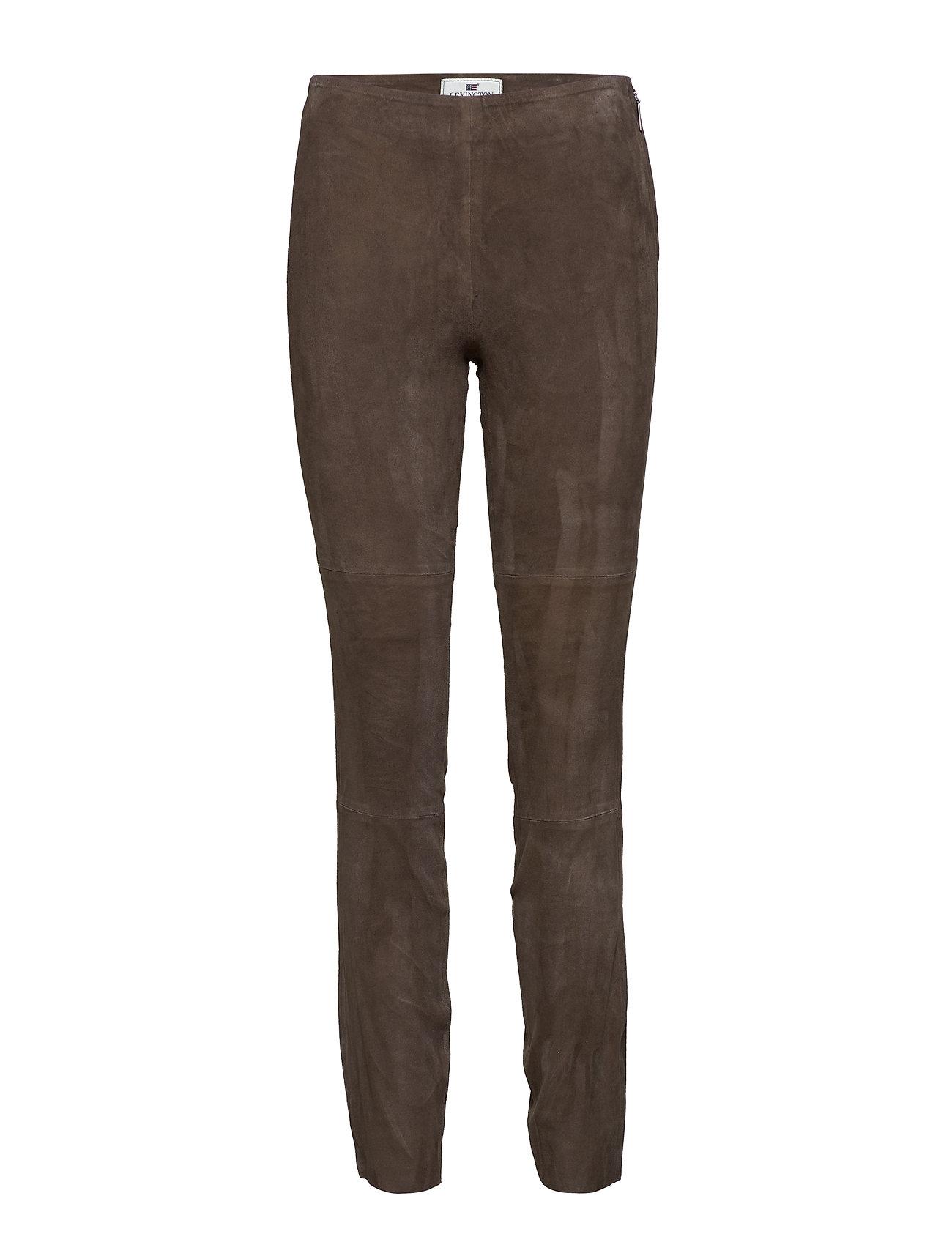 Lexington Clothing Jackie Suede Stretch Pants - DARK BROWN
