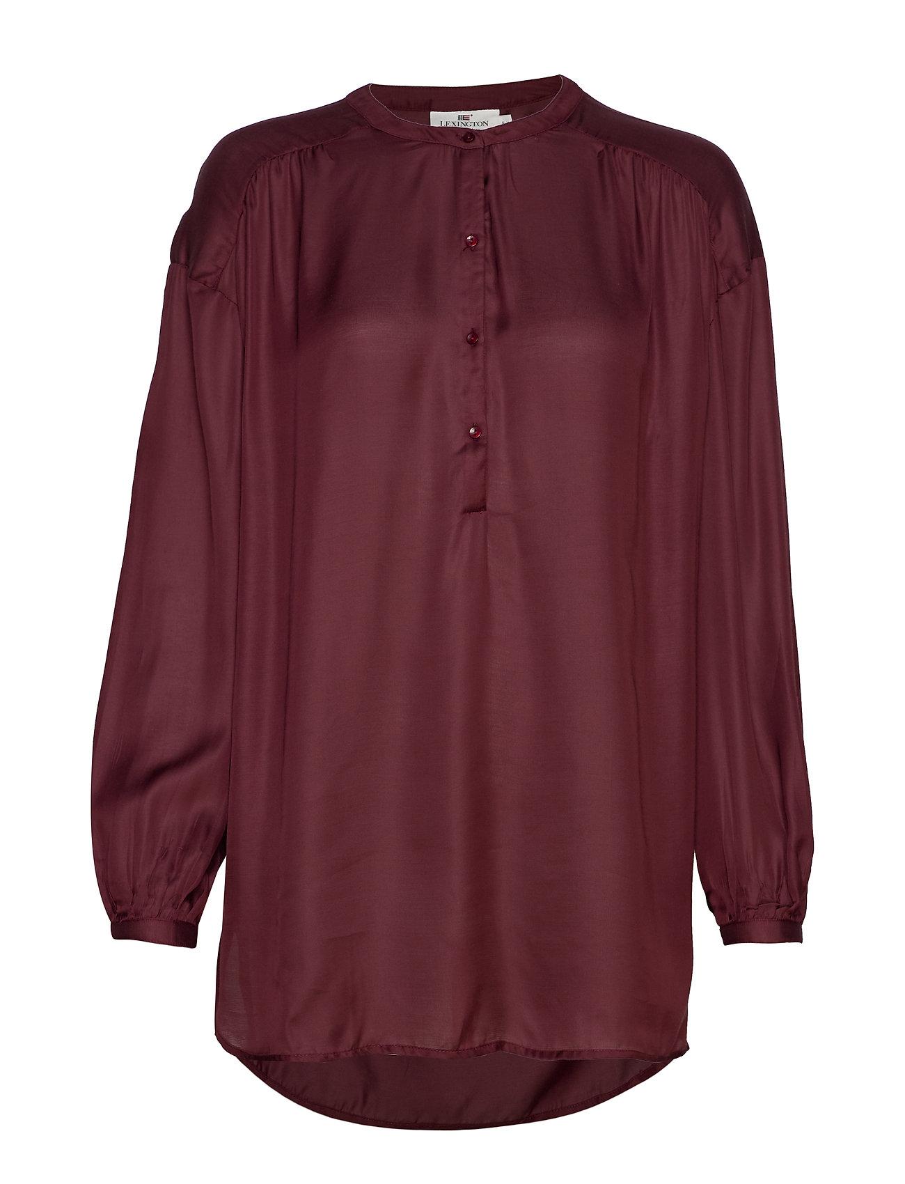 Lexington Clothing Nellie Satin Blouse - DARK RED