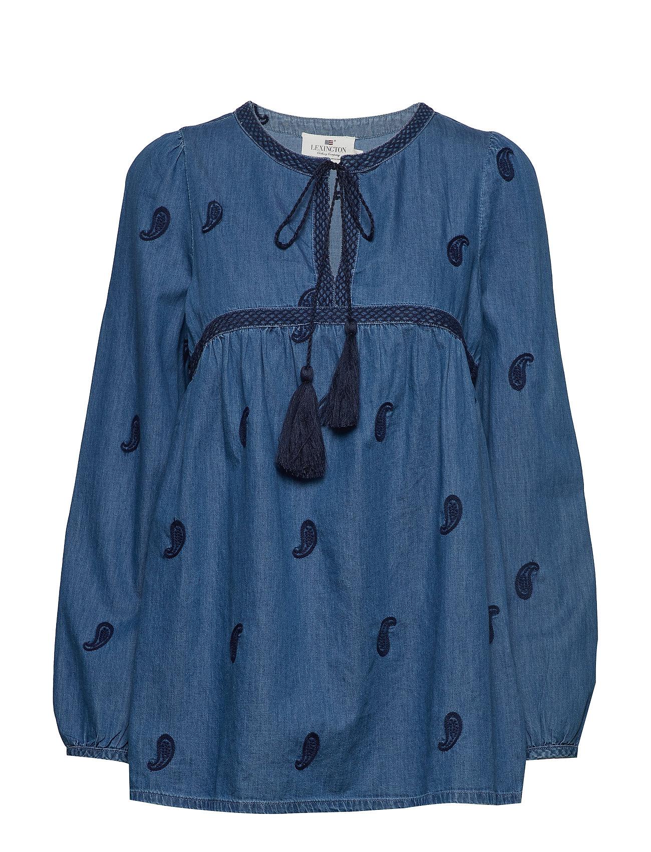 Lexington Clothing Freya Embroidery Blouse - MEDIUM BLUE DENIM
