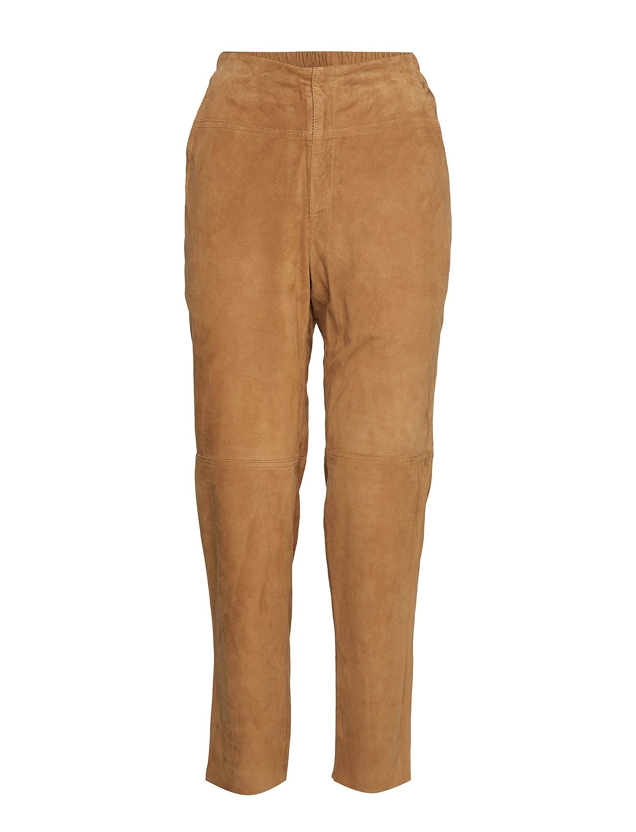 Image of Olivia Suede Pants Bukser Med Lige Ben Beige LEXINGTON CLOTHING (3211641071)